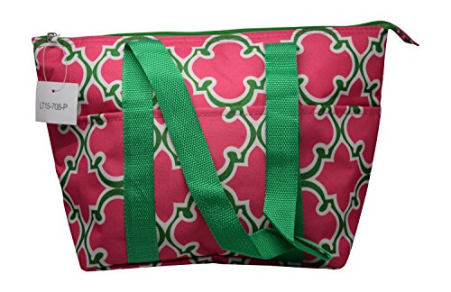 Large Reusable Zippered Top Insulated Lunch Bag (Pink/Green) (12 Pink Tote Bags)