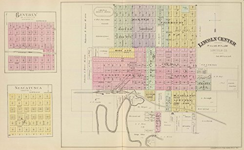 State Atlas | 1887 Lincoln Center, Beverly, Nescatunca. | Historic Antique Vintage Map - Beverly Center Map