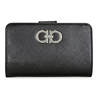 cc194466c1d0 Amazon.com  Salvatore Ferragamo Double Gancio French Wallet - Black ...