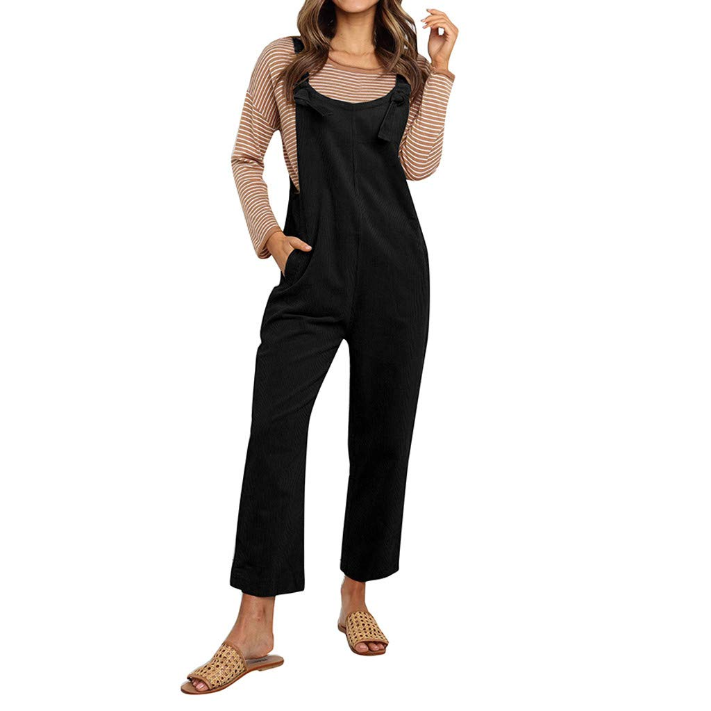 ✔ Hypothesis ☎ Women Casual Sleeveless Loose Playsuit Jumsuit Corduroy Solid Pocket Sleeveless Sling Jumpsuit Plus Size Black by ✔ Hypothesis_X ☎ Pants