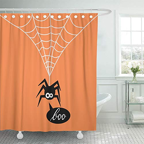 Emvency Decorative Shower Curtain Animal Cute Spider on Orange of for The Halloween Party Say Boo Arachnid Black 72