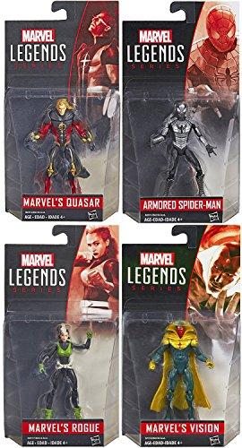 "Marvel Legends Spider-Man Armored Suit 4-Pack Figure Set Avengers 3.75"" Inch Vision & Rogue + Quasar Superhuman Energy Super Hero Set"