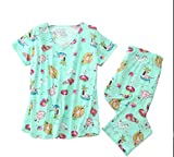 Amoy madrola Women's Pajama Sets Capri Pants with Short Tops Cotton Sleepwear Ladies Sleep Sets SY296-Beach-S