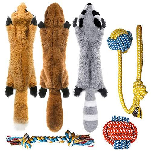 Peteast hundespielzeug,6 Stück Hund Quietschende Kauen Spielzeug und Hund Seil Kauspielzeug, Dauerhaft keine Füllung…
