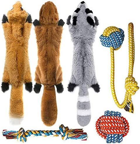 Peteast -3 Squeaky Toys and 3 Rope Dog Toys, No Stuffing Squeaky Plush Fox Raccoon Squirrel, Puppy Chew Teething Rope Toys Set for S/M/L Dogs Pets Animals