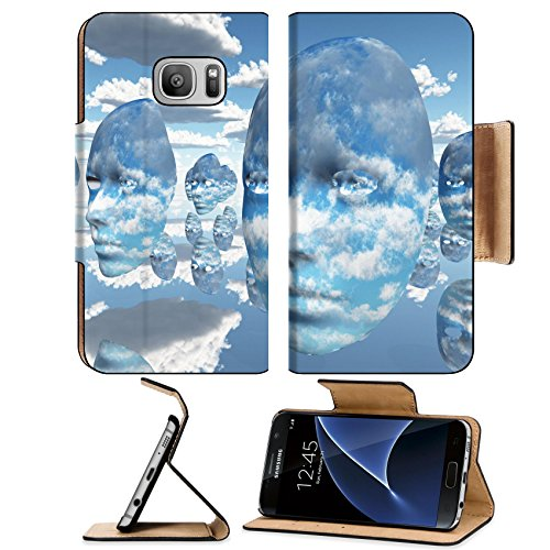 Liili Premium Samsung Galaxy S7 Flip Pu Leather Wallet Case Repeating faces of clouds IMAGE ID