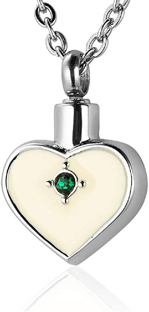 Funnel /& Chain Stainless Steel Heart w// 12 Stones Cremation Jewelry Pendant Urn