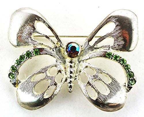 - Silver Plated Butterfly Brooch- Butterfly Pin With Cubic Zirconia Gemstones