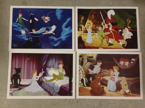 Disney Exclusive Limited Diamond Edition PETER PAN LITHOGRAPH SET of 4 -
