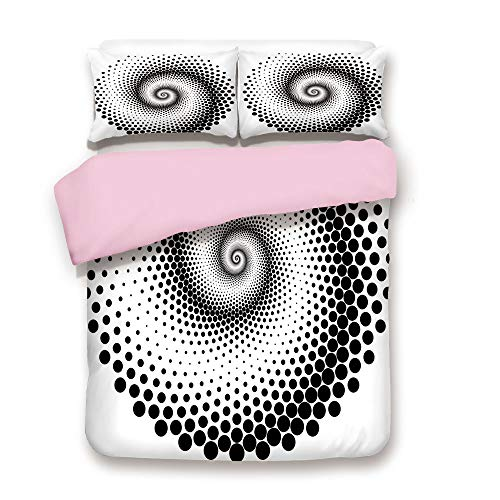 (Pink Duvet Cover Set,Queen Size,Black Dots Forming a Spiral Shape Monochrome Circle Twist Optical Art Elements Decorative,Decorative 3 Piece Bedding Set with 2 Pillow Sham,Best Gift For Girls Women,Bl)