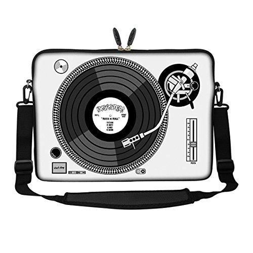 Meffort Inc 15 15.6 inch Neoprene Laptop Sleeve Bag Carrying Case with Hidden Handle and Adjustable Shoulder Strap - Record Player