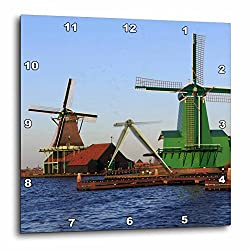 3dRose Danita Delimont - Windmills - Famous windmills of Zaanse Schans, just outside of Amsterdam, Holland - 15x15 Wall Clock (dpp_257780_3)