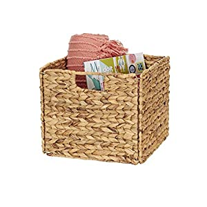 Household Essentials Wicker Open Storage Bin for Shelves, Natural