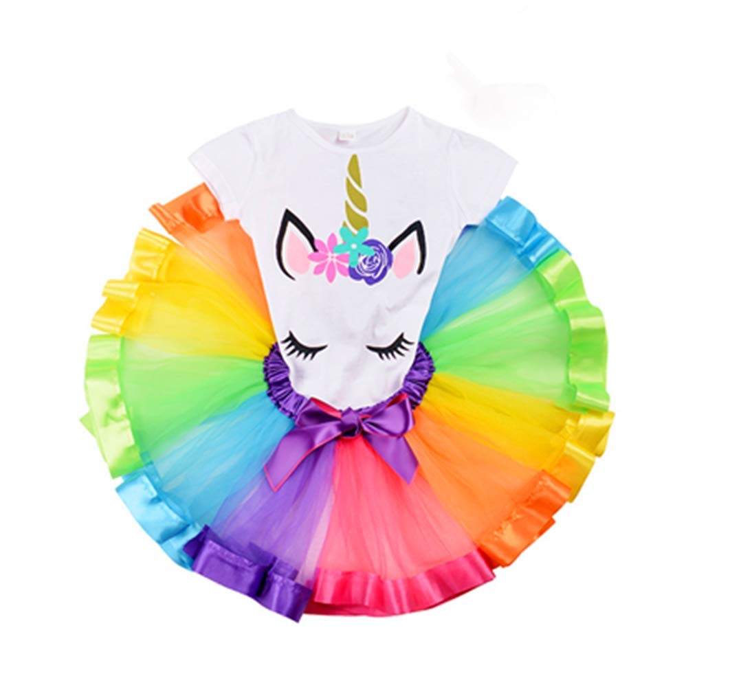 9257874f3d Toddler Baby Girl Rainbow Tutu Unicorn Costume Birthday Party Tulle Skirt  Dress Outfit Set 2pc product