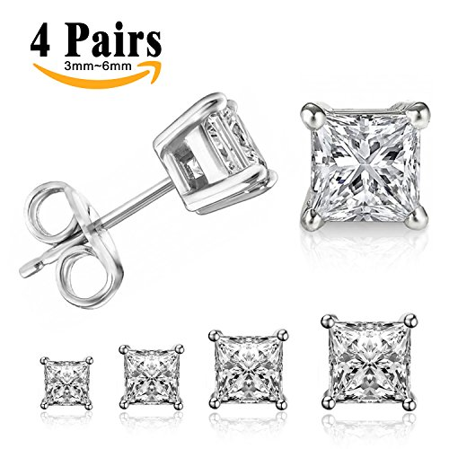 LIEBLICH Princess Cut Cubic Zirconia Stud Earrings Stainless Steel Square Earrings Set 4 Pairs 3mm-6mm (Silver) (Square Zirconia)