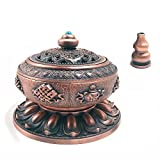 OTOFY Exquisite Tibet Buddha Eight Treasures Incense Burner Holder Incense Cones/Stick/Coil Incense Holders Home Decor Gift (Red Copper)