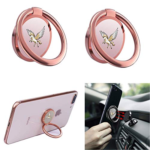 (Phone Ring Holder Finger Ring Stand The Latest Unicorn 360° Rotation Metal Phone Ring Grip for Magnetic Car Phone Mount Compatible with All Smartphone 2pack (Rose Gold))