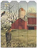 Harbingers Of Spring by Billy Jacobs 9×12 Print on Wood Picket Fence Barn Red Winged Black Birds Flowers Country Art Picture Wall Hanging Plaque