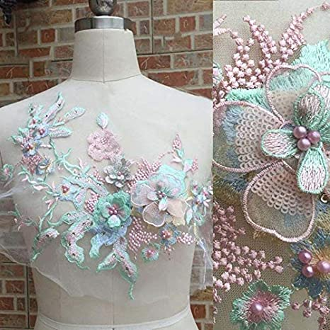 3D DIY Lace Flower Embroidery Bridal Applique Beaded Pearl Wedding Dress