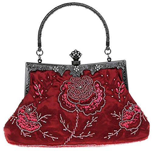 Belsen Handbags Women's Red Sequin Vintage Beaded Wine Evening FFarBw