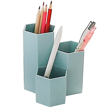 Superbe Preferhouse 3 Dividers Cute Pencil Holder Office Desktop Pen Stand  Organizer Plastic Sexangle Cup Blue