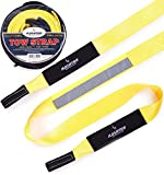"Tow Strap Heavy Duty, Recovery strap - Soft Snatching - 30 000 lbs 3"" x 20 ft - Towing Strap with Reflective Line, Reinforced Loops + Storage Bag - Off road Tow Rope - Greates"