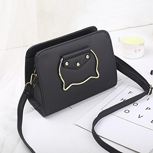 PU Bags Handbags Bag Black Handle QZUnique Tassel Leather Ear Crossbody Metal Cat Women's Shoulder wAanxq4IB