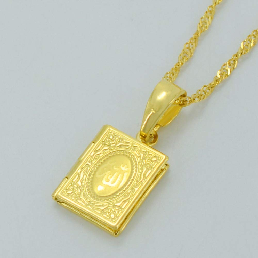 Fasmodel-Small DIY Photo Box Necklaces for Women//Girl,Allah Pendant Gold Color Muslim Islamic Jewelry Gift #037102 60cm Thin Chain