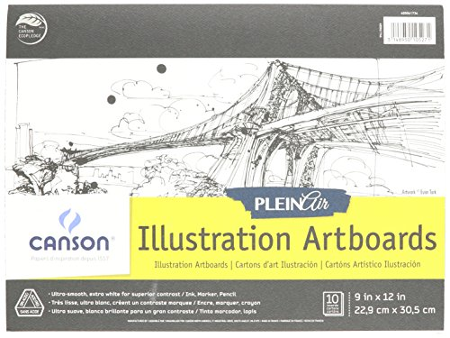 Canson Plein Air Illustration Smooth Art Board Pad for Ink, Markers and Pencils, 9 x 12 Inch, Set of 10 Boards by Canson