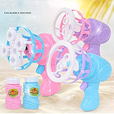Hefu Bubble Fan Blower - Kids Portable Bubble Maker with Bubble Water - Bubble Maker for Indoor & Outdoor/Parents & Toddlers/Parties/Activities - Gift for Boys & Girls Ages 3+ (Pink): Health & Personal Care