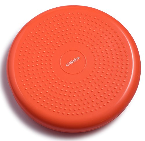 Bintiva Inflated Stability Wobble Cushion, Including Free Pump / Exercise Fitness Core Balance Disc,Orange,13 inches/ 33 cm diameter by bintiva (Image #1)