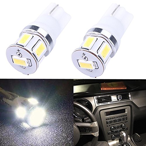 (Alla Lighting Super Bright White High Power 5730 SMD T10 Wedge 194 168 2825 W5W LED Light Bulbs (White))