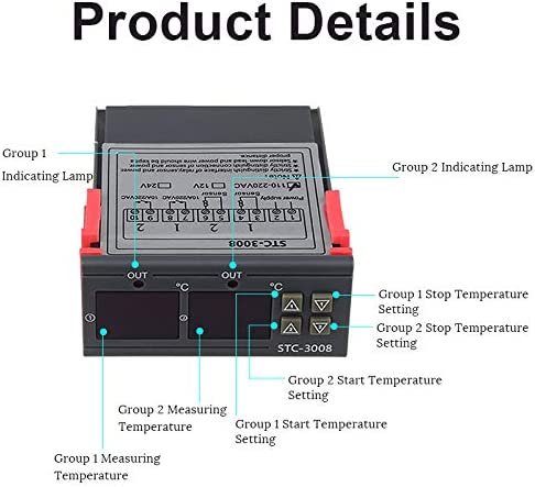 AC110V-220V MXECO 12//24 // 110-220V STC-3008 Controlador de temperatura Termostato Regulador de term/ómetro con LED Pantalla doble STC-3008 Gris