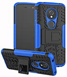 Moto G6 Play Case,Moto G6 Forge case, Yiakeng Dual Layer Shockproof Wallet Slim Protective with Kickstand Phone Case Cover for Moto G6 Play Case (Blue)