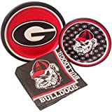 University of Georgia Bulldogs Party Supply Pack! Bundle Includes Paper Plates & Napkins for 8 Guests
