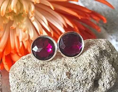 11 X 15 mm Pear  10 mm Round  Charm Earrings  Bezel Earrings JMI51274 Pink Chalcedony /& Dark Pink Stone Handmade Jewelry Stud Earrings