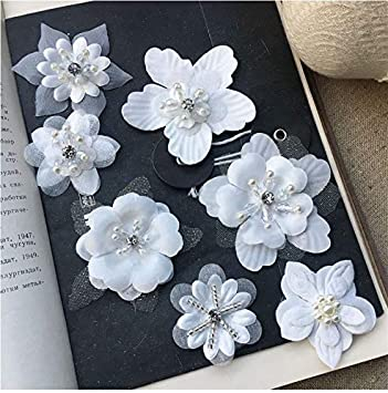 WHITE Wedding Fabric Flowers CRAFT Glue//Sew On Embellishment Applique DIY Card