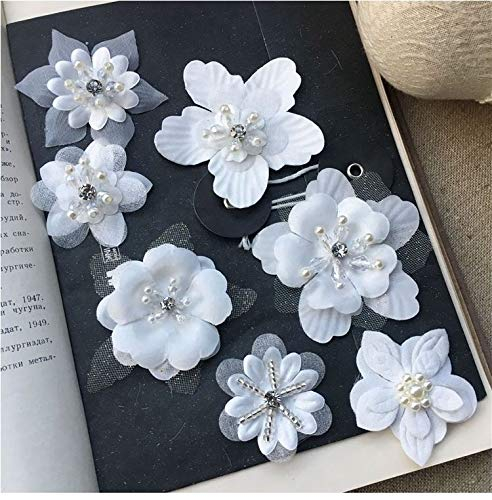 7 pcs White Organza Embroidery 3D Lace Flower Fabric Appliques with Peal Beads Crystal Iron On Patches DIY Decoration for Clothing Backpacks Jeans Caps Shoes Dress Bridal Wedding (f1) ()