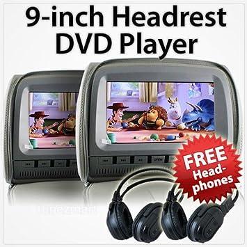 2 x 9 HD reposacabezas Coche DVD Reproductor de Monitor Trasero Almohada + Auriculares inalámbricos IR: Amazon.es: Electrónica