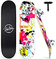 BELEEV Skateboards, 31 inch Complete Skateboard for Beginners, 7 Layer Canadian Maple Double Kick Deck Concave