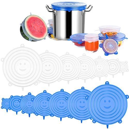 Newdora Tapas de Silicona Elasticas, 14 Tapas Silicona Ajustables Cocina, Reutilizable Fundas Protectoras para Alimentos Tapa Tazas, Boles o Tarros,Tapa del tazon, Lavavajillas, Microonda