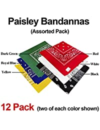 Bandana Classic Paisley - Assorted 12 Pack (Six Popular Colors)