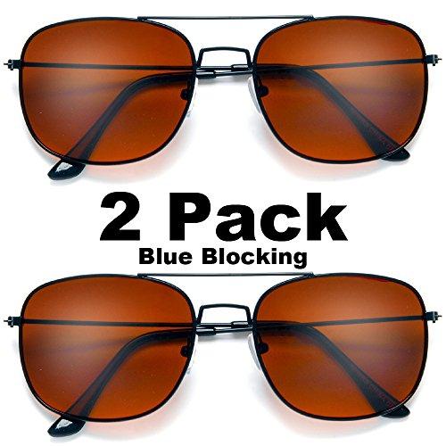 67406a91e25 Blue Ray Blocking Rectangular Aviator Driving Sunglasses Black Frame Amber  Tint 2 Pack - Buy Online in Oman.