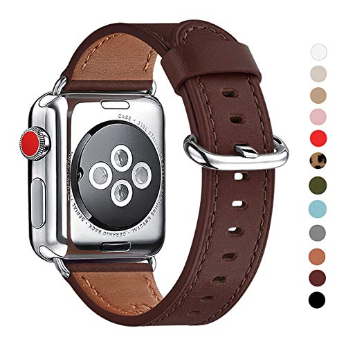 WFEAGL Compatible iWatch Band 38mm 40mm 42mm 44mm, Top Grain Leather Bands of Many Colors for iWatch Series 4,Series 3,Series 2,Series 1 (Dark Brown Band+Silver Adapter, 42mm 44mm)
