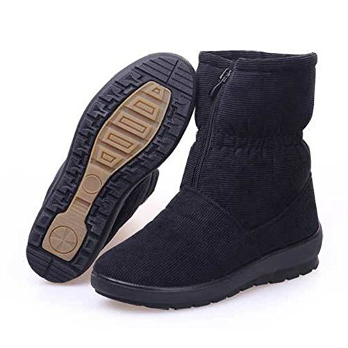 GIY Women Fashion Anti-slip Fur Lining Snow Boots Mid-Calf Platform Warm Winter Bootie Slipper Shoes Black vlcxzxxFx