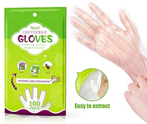 Disposable Gloves, 100 Pcs Plastic Gloves for Kitchen Cooking Cleaning Safety Food Handling, Powder and Latex Free by Teivio