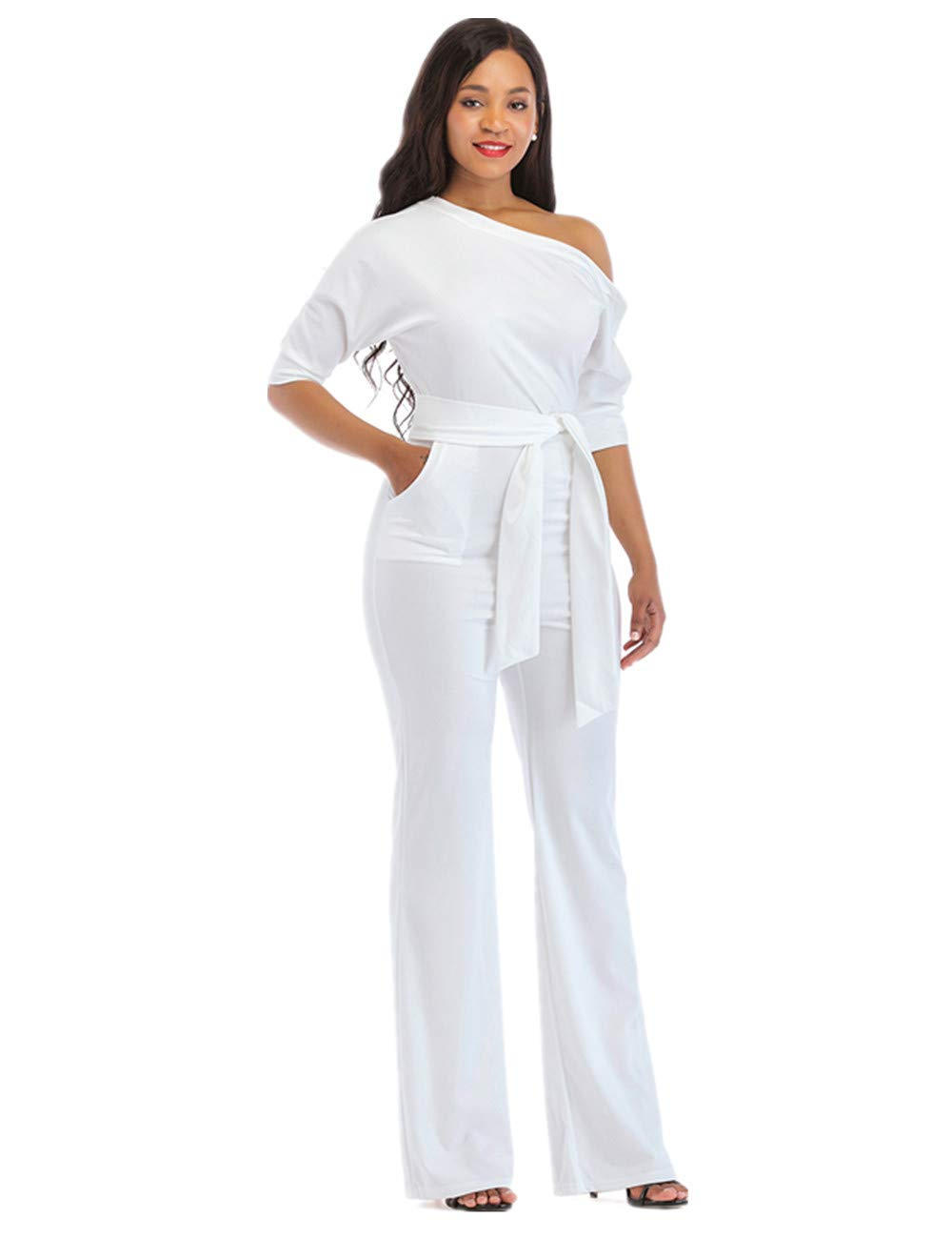 One Shoulder Jumpsuits for Women Elegant Night Sexy Casual Summer Rompers Dress Wide Leg Long Pants Plus Size White XXL by PINLI