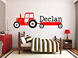 interesting bedroom wall decals Custom product for personalized Name interesting Tractor Vinyl Wall Stickers For Kids Boy Room Bedroom Wall Decal home decoration-customized name