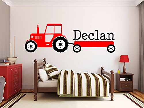 Custom product for personalized Name interesting Tractor Vinyl Wall Stickers For Kids Boy Room Bedroom Wall Decal home decoration-customized name