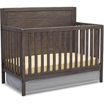 Delta Children 4 in 1 Convertible Nursery Crib with Strong and Sturdy Built, Converts into Toddler Bed, Daybed and Full Size Bed, Rustic Gray